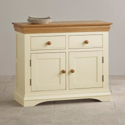 French Cottage Natural Oak and Painted Small Sideboard