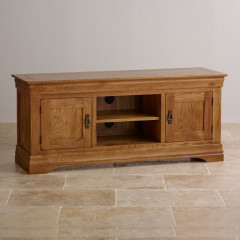 French Rustic Solid Oak Widescreen TV Cabinet