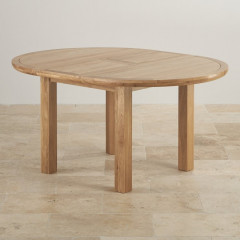 Chamfer Natural Solid Oak 1.1M Round Extending Dining Table