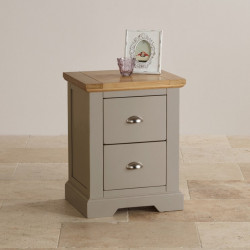 St John's Natural Oak and Light Grey Painted 2 Drawer Bedside Table
