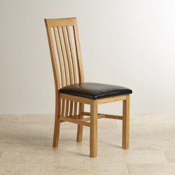 Osaka Solid Oak Slat Back Dining Chair Leather Padding
