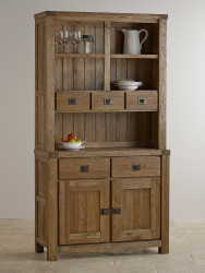 York Solid Oak Small Buffet Table With Hutch