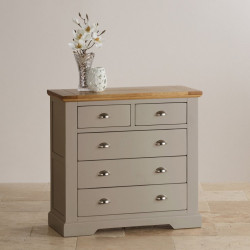 St John's Natural Oak and Light Grey Painted 2+3 Drawer Chest