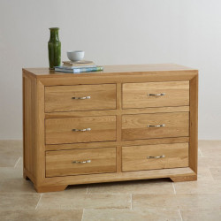 Chamfer Natural Solid Oak 6 Drawers Chest