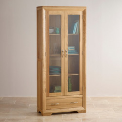 Chamfer Natural Solid Oak Glazed Display Cabinet