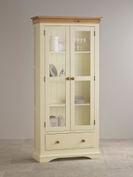 French Cottage Natural Oak and Painted Display Cabinet