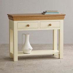 French Cottage Natural Oak and Painted Console Table