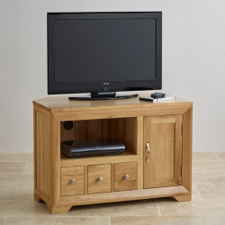 Chamfer Natural Solid Oak Media Unit