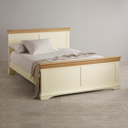 French Cottage Natural Oak and Painted Super King-Size Bed