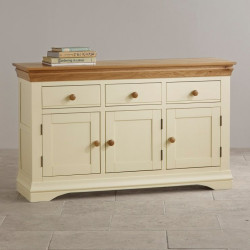 French Cottage Natural Oak and Painted Large Sideboard