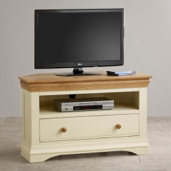 French Cottage Natural Oak and Painted Corner TV Cabinet