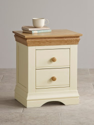French Cottage Natural Oak and Painted Bedside Table