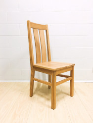 Chamfer Natural Solid OAK Dining Chair Oak Padding