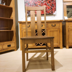 Chamfer Rastic Solid OAK Dining Chair Oak Pad
