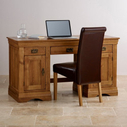 French Rustic Solid Oak Computer Desk