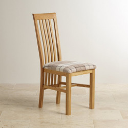 Osaka Solid Oak Slat Back Dining Chair with Fabric Pad