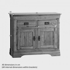 French Rustic Solid Oak Small Sideboard