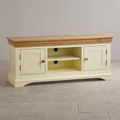 French Cottage Natural Oak and Painted Widescreen TV Cabinet