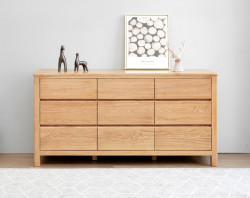 Seattle Natural Solid Oak Chest of 9 Drawers
