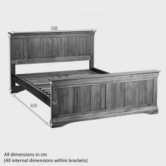 French Rustic Solid Oak Super King-Size Bed