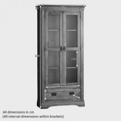 French Rustic Solid Oak Display Cabinet