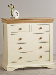 French Cottage Natural Oak and Painted 3+2 Chest of Drawers