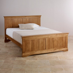 French Rustic Solid Oak Queen-Size Bed
