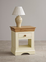 French Cottage Natural Oak and Painted Lamp Table