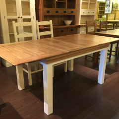 French Cottage Natural Oak and Painting Extendable Dining Table