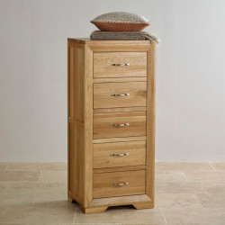 Chamfer Natural Solid Oak 5 Drawers Tallboy
